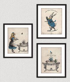 Alice In Wonderland Tea Party Wall Art Print Set Of 3 Gift For Her Christmas Gift. $36.00, via Etsy.