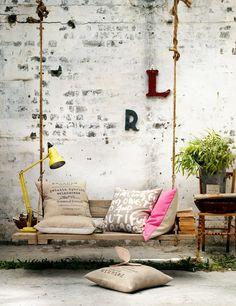 hanging bench.  lovin' this!  #hangingfurniture