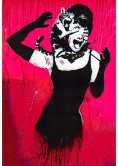 Audrey Hepburn Cat Scratch Spoof Grannies Graffiti Masterprint at AllPosters.com