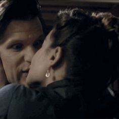 """Clara kisses the Doctor. This is the funniest face I think I've ever seen him make! xD """"Ermagerd! Clera!"""""""