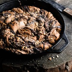 A whole wheat iron cast bread with walnuts and tahini giving it an ancient, nutty flavor brightened by chocolate. #chocolate #tahini #vegan
