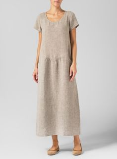 MISSY Collection - Two Tone Linen Short Sleeve Dress