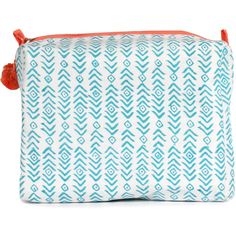 Bohemia Design - Aqua & Peach Aztec Print Wash Bag (560 MXN) ❤ liked on Polyvore featuring beauty products, beauty accessories, bags & cases, bags, clutches / wallets / purses, makeup bag case, make up bag, travel kit, cosmetic bags and wash bag