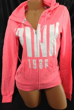 Victorias Secret PINK Medium M Neon Electric Coral Full Zip Perfect Baggy Hoodie