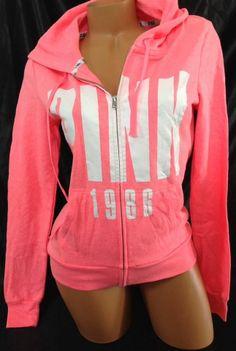 Victorias Secret PINK Medium M Neon Electric Coral Full Zip Perfect Baggy Hoodie