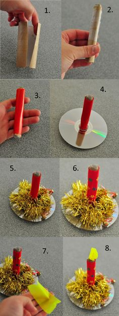 DIY CRAFT ** Toilet paper roll ** christmas craft -- how to make a paper candle toilet roll