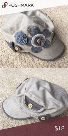 Cute hat Cute grey hat with flower accents - smaller brim - like new Accessories Hats