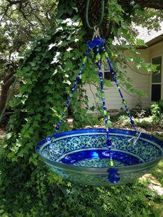 Turkish Glass Bird Feeder cobalt blue and by HappyChickCreations, $40.00