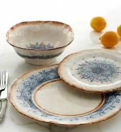 Beautiful blue and earth tone patterned dishes that remind me of Victorian Lace. #LGLimitlessDesign #Contest