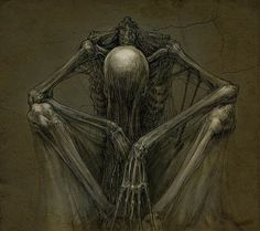 """ "" by skirill@ deviantart dark fantasy art Dark Fantasy Art, Dark Art, Creepy Drawings, Creepy Art, Art Drawings, Skeleton Drawings, Art Macabre, La Danse Macabre, Arte Horror"