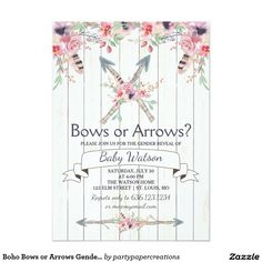 Boho Bows or Arrows Gender Reveal Party Card