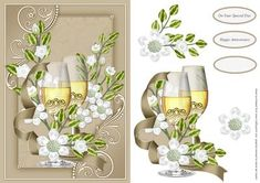 Wine And Flowers on Craftsuprint designed by Chris Harland - A step by step card front with flower and wine decoupage - Now available for download!