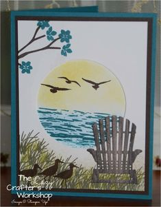 Stampin' Up! High Tide and Colorful Seasons by angelia Swing Card, Nautical Cards, Beach Cards, Retirement Cards, Stamping Up Cards, Bird Cards, Fall Cards, Masculine Cards, Paper Cards