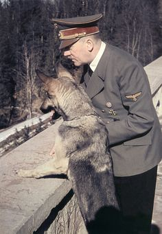 Adolf Hitler and Blondi at the Berghof