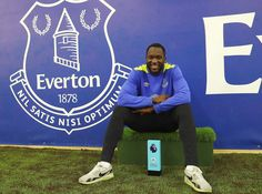 Romelu Lukaku of Everton pictured with the EA SPORTS Player of the Month award at USM Finch Farm on March 30, 2017 in Halewood, England. - Romelu Lukaku Awarded with the EA SPORTS Player of the Month