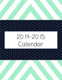 FREE Printable Chevron Calendar for the school year