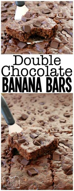 Double Chocolate Banana Bars made with 5 bananas & double the chocolate for a tasty banana recipe that everyone enjoys. Not too sweet & perfect anytime! Double #Chocolate #Banana Bars #snack #dessert #recipe #skinny Butter With A Side of Bread