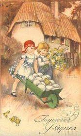 Soloillustratori: Perle Vintage Postcards, Vintage Images, Easter Illustration, Illustrations Vintage, Sweet Drawings, Easter Pictures, Vintage Fairies, Easter Art, Vintage Easter