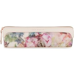 TED BAKER Pure peony pencil case (£15) ❤ liked on Polyvore featuring home, home decor, office accessories, bags, dusky pink, floral pencil case, zipper pencil pouch, zipper pencil case, zip pencil case and rose gold pencil case