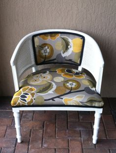 Vintage Barrel Style Chair.Esme Flatiron fabric.cane back chair.side chair.accent chair.white chair.upholstered chair.vintage chair on Etsy, $255.00