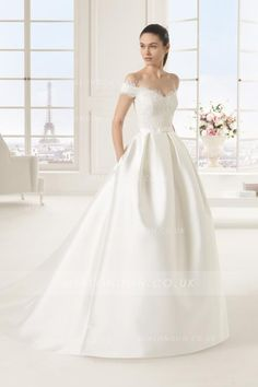 Off-the-shoulder Lace Bodice Ball Gown Satin Wedding Dress with Bow