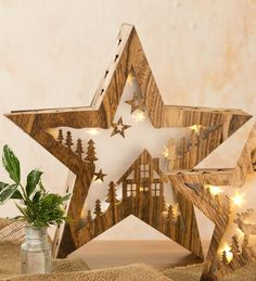 Large Wooden Lighted Table Star