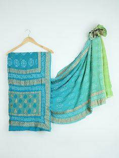Buy Blue Green Bandhani Benarasi Chiffon Saree Sarees Specials Online at Jaypore.com