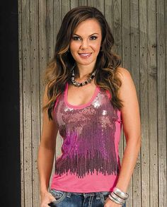 Rock & Roll Cowgirl Pink Sequined Racer Back Tank Top - T-Shirts - Women's
