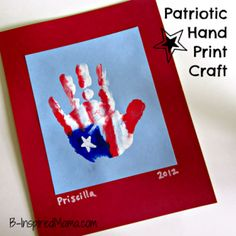Patriotic Hand Print Craft, Hunter was so patient so I could try this out..lol