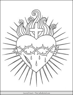 The Catholic Kid - Catholic Coloring Pages and Games for Children Christian Symbols, Christian Art, Jesus Coloring Pages, Coloring Books, Christ Tattoo, Sacred Heart Tattoos, Valentine Coloring Pages, Heart Illustration, Catholic Kids