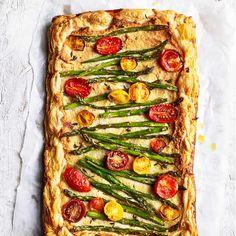 Asparagus and tomato savoury frangipane tart