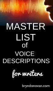 A BIG list of descriptors of tone of voice and voice quality, for writers! But don't for get the word said: it intrudes less, and the dialogue can indicate the mood!