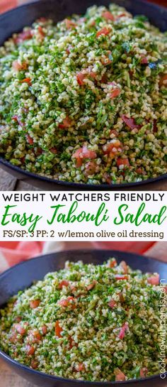 Tabouli Salad made with bulgur, tomatoes, mint, lemon and olive oil with lots and lots of fresh parsley. This is the perfect easy side dish for your favorite middle eastern cooking for just 3 smart points per serving.