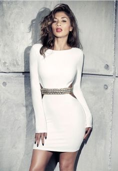 Nicole X Missguided Cut Out Chain Detail Dress White