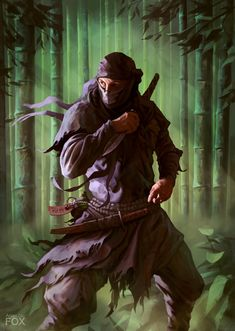 A ninja with a sharp tanto knife in a bamboo forest. He waits for his enemies Arte Ninja, Ninja Art, Fantasy Character Design, Character Art, Character Inspiration, Fantasy Warrior, Fantasy Art, Geisha, Shadow Warrior