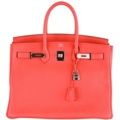 Hermes - HERMES BIRKIN BAG 35CM ROSE JAIPUR PALLADIUM HARDWARE AMAZING ❤ liked on Polyvore