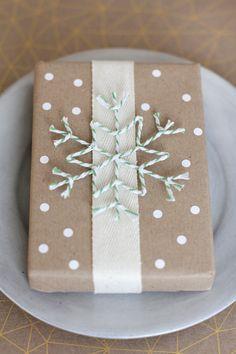 Bakers Twine Snowflake on Brown Kraft Paper - Gift Wrap Idea by Fellow Fellow