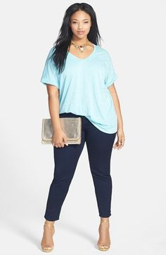 Plus Size Jersey V-Neck Tee