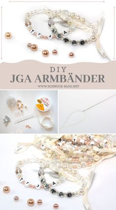 Bastel für den anstehenden Junggesellinnenabschied schöne DIY JGA Armbänder a… Craft for the upcoming hen party Beautiful DIY JGA bracelets made of pearls for the bride and bridesmaids. Diy Jewelry Unique, Diy Jewelry To Sell, Diy Jewelry Holder, Diy Jewelry Making, Bracelet Making, Sell Diy, Bracelets Fins, Bracelets Crafts, Glasses For Your Face Shape