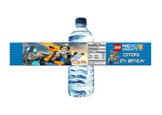 This listing is for a printable set of 5 Lego Nexo Knights Water Bottle labels, which you receive via email as a digital JPEG file.  Use promo code for 20% off: PIN20