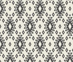 """""""Cream & Dark Gray Aztec with Diamonds"""" fabric by Bohemian Gypsy Jane 