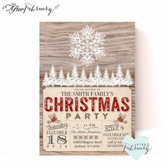 Rustic Christmas Invitation  Snow  Wood Holiday by AfterFebruary