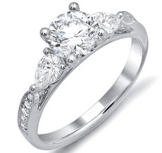 Cathedral Engagement Ring Pear Shape side stones