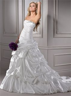 A-line Strapless Beaded and Ruffled Taffeta Wedding Dress WD1784 www.tidedresses.co.uk $286.0000
