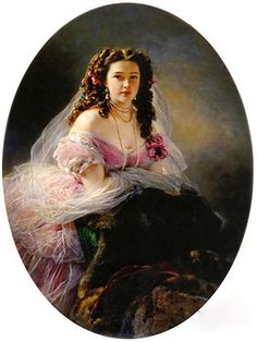 Franz Xaver Winterhalter Online, Portrait of Madame Barbe de Rimsky-Korsakov, Oil Paintings Only For Art Lovers! This is a non-profits site and shows all the paintings of Franz Xaver Winterhalter's art works. Franz Xaver Winterhalter, Old Portraits, Portrait Art, Pencil Portrait, Art Costumes, Victorian Paintings, Classic Paintings, Classical Art, Woman Painting