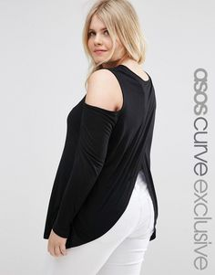 25d3fe7cf0a5 ASOS CURVE Top With Cold Shoulder And Wrap Back at asos.com
