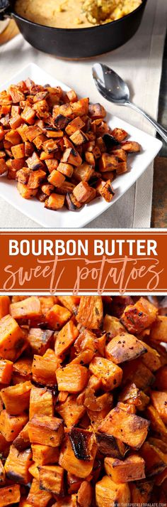 Be still, my bourbon-, butter-, and sweet potato-loving heart! Bourbon Butter Sweet Potatoes make a DELICIOUS, flavorful side for the Thanksgiving table this year and are SO simple to make! Cube sweet potatoes, then douse them in a mixture of butter and bourbon. Season them with fresh thyme, salt and pepper and bake for 45 minutes. Broil the potatoes to add a nice crunch, then serve warm. This bourbon-y, buttery side dish is holiday meal perfection.