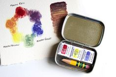 How to Pick Your Palette Series: Primary Color Palettes Paint Color Chart, Color Charts, Blueberry Water, Homemade Watercolors, Pochade Box, Watercolor Kit, Travel Kits, Paint Set, Box Art