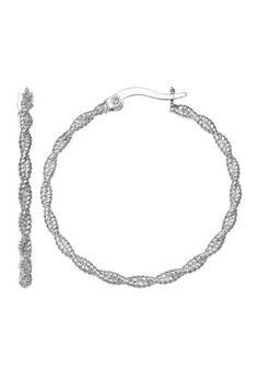 Belk Silverworks Women Fine Silver Plated 25Mm Diamond Cut Rope Hoop Earrings - Silver - One Size