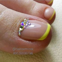 Yellow French - Rhinestone TOE Nail Art